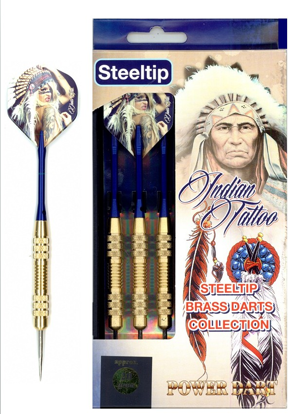 Šipky Powerdart  STEEL BRASS INDIAN TATOO 20 gr.